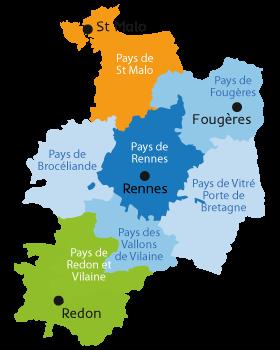 Carte des pays d'Ille-et-Vilaine